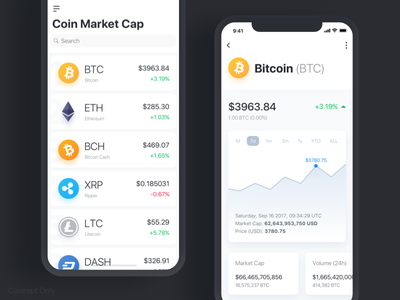 Coin Market Cap - Concept currency crypto design app cap market coin bitcoin iphonex ios11 ui ux