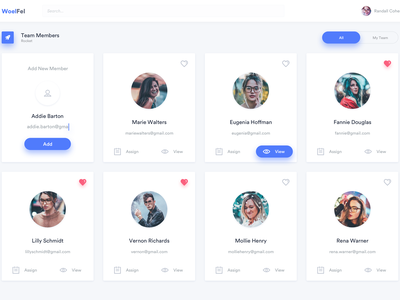 Woelfel Team Page assign profile design product team dashboard ui ux