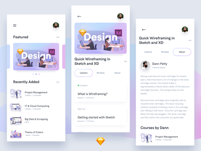 Online Courses UI Kit minimal neat free freebie sketchapp sketch mobile clean iphonex ios11 ux app ui design course