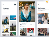 Unsplash Redesign image sharing freebie photo design minimal free sketchapp sketch mobile clean iphonex ios11 app ux ui