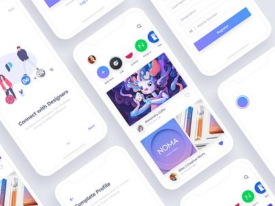 Social App For Designers designers designer story listing uikit freebie social app social minimal free sketchapp sketch app clean iphonex ios11 ux ui