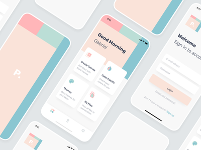 Painting and Color Palette App minimal neat clean themes files canvas welcome sign in login pastel painting palette color app ios