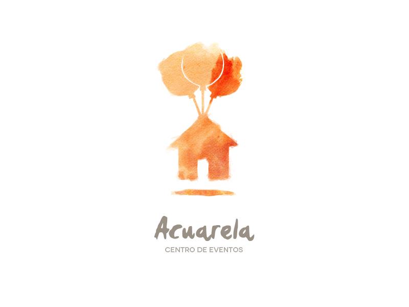 Acuarela watercolor house events center balloons