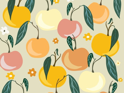 Warm Toned Tangerines oranges tangerines spring vector surface pattern design surface design pattern design pattern illustration design