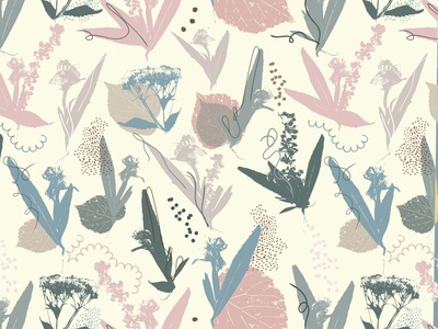 Pressed Wildflowers in Neutral pressed flowers spring vector surface pattern design surface design pattern design pattern illustration design