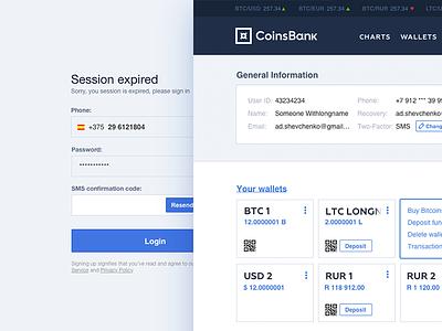 Online Bank UI crypto bitcoin dashboard login coinsbank banking ui