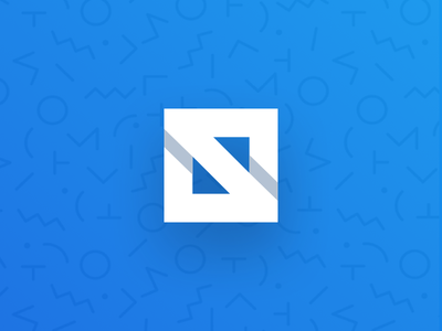 S Mark WIP memphis pattern background letter blue logo