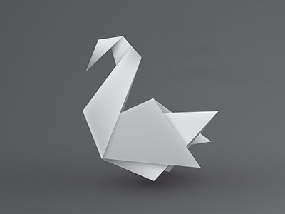 Origami swan origami sign paper white