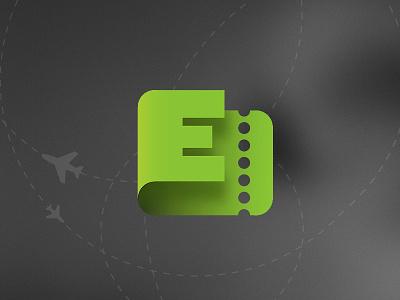 eTicket logo logotype identity ticket flights planes green e