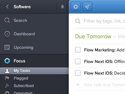 My Tasks ui web tasks list search app sidebar focus