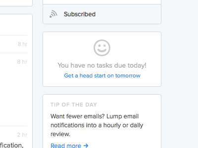 Done for the day! ui web sidebar dashboard empty smiley icon