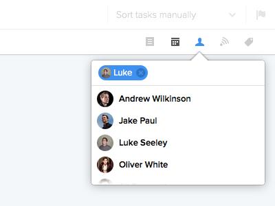 Assigning tasks inline web ui icons task list popover tooltip tokens avatars