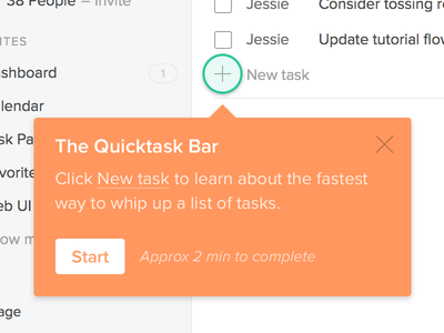 Starting a tutorial tutorial popover tooltip task input form ui interface