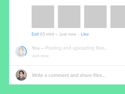 Posting and uploading files… comment commenting loading posting avatar interface ui