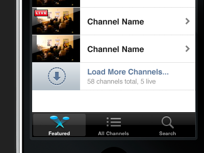 Load More Channels iphone design loading