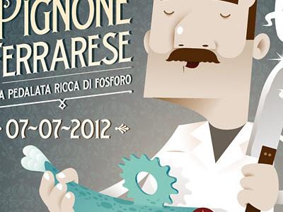 2ª Sagra del Pignone Ferrarese poster flyer illustration ferrara italy bike race alleycat fish vintage food old fashion
