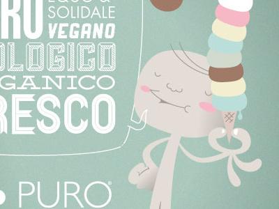 Puro&Bio flyer kid illustration vintage character organic ice cream