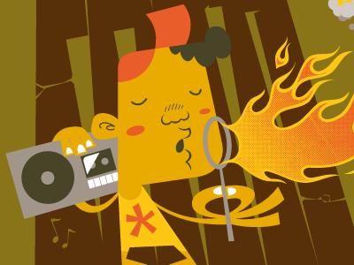 Mo' Faya illustration character t-shirt boombox fire kid ghetto blaster