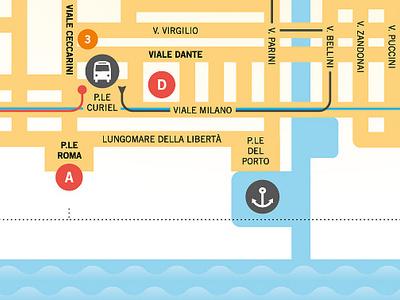 Festival del Sole - leaflet's map festival sole sun international gymnastics map infographics vector riccione italy