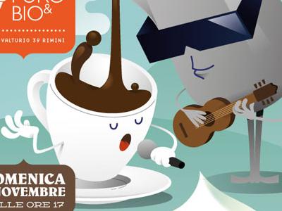 Puro & Bio - winter poster illustration vector chocolate puro bio organic poster typography cup jug cream waffle