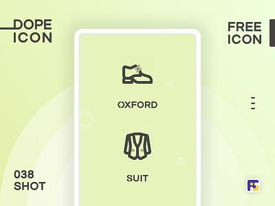 Dopeicon - Icon Showcase 038 shoes suit oxford dopeicon freebies website type flat web animation app icon branding vector ux typography ui design logo illustration