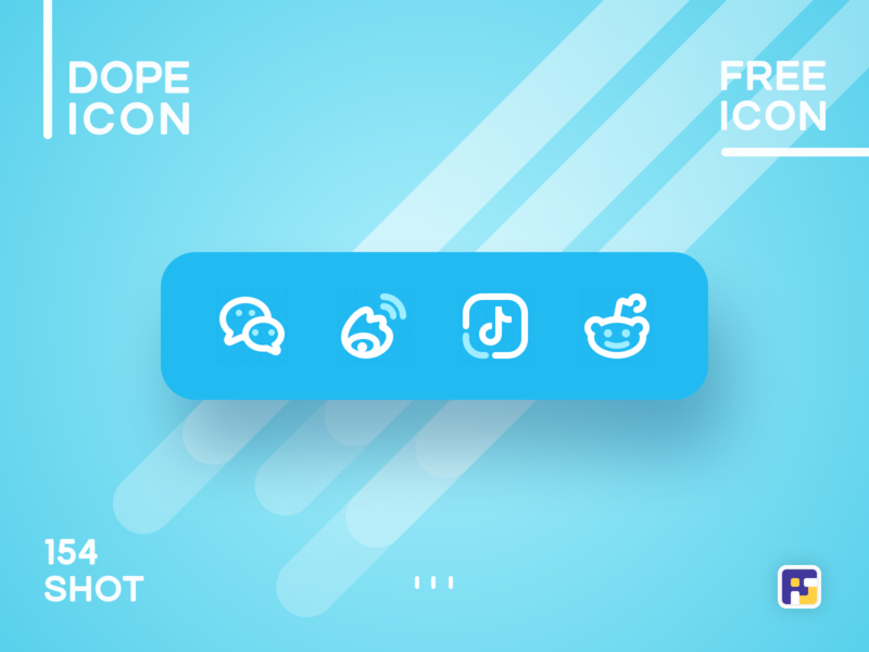 Dopeicon - Icon Showcase 154 reddit tiktok weibo social buttons wechat dope dopeicon freebies website type flat animation app icon branding vector ux ui logo illustration