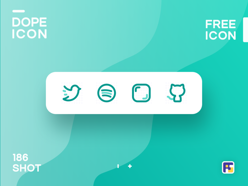 Dopeicon - Icon Showcase 186 social app social icons dope dopeicon freebies website type flat web animation app icon branding vector ux typography ui design logo illustration