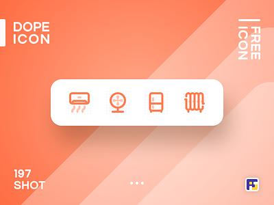 Dopeicon - Icon Showcase 197 smart home fridge home appliances fan air condition dope dopeicon freebies website web animation app icon branding vector ux typography ui logo illustration