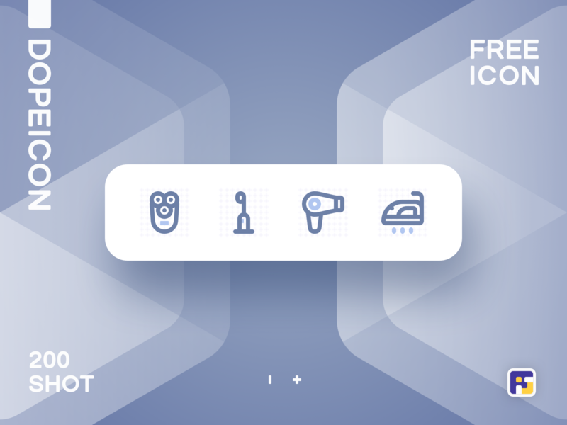 Dopeicon - Icon Showcase 200 hair dryer toothbrush shaver dope dopeicon freebies website type flat web animation app icon branding vector ux typography ui logo illustration