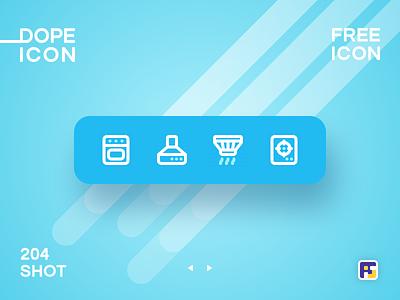 Dopeicon - Icon Showcase 204 kitchen minimal print mobile dope dopeicon freebies website flat web design animation app icon branding vector typography ui design logo illustration
