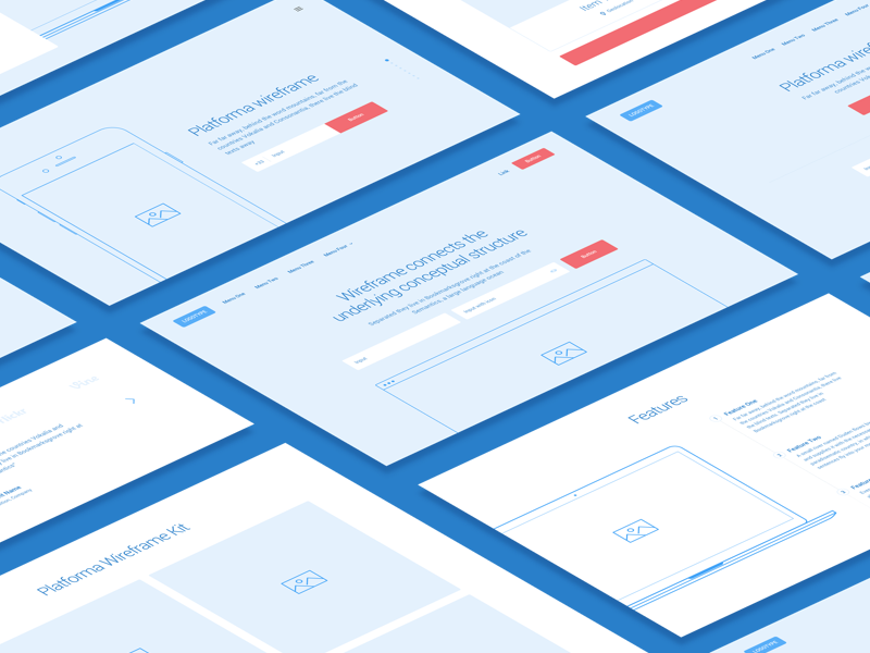 Platforma Wireframe | Coming Soon wireframe kit ui kit isometry perspective form headers header blueprint wireframe