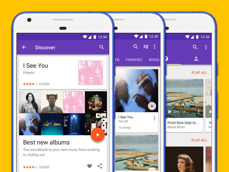 Music app screens material design music app app material playlist catalog explore discovery discover player audio music