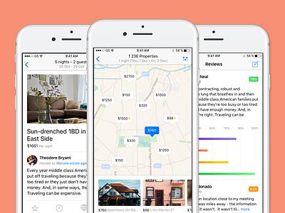 Booking screens — iOS Design Kit ios design kit ios10 review map booking ios