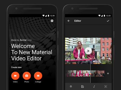 Video Editor Screens video editor material design start welcome editor video material