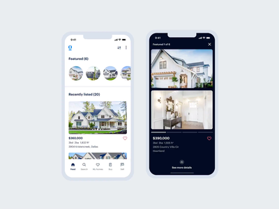 Real Estate Stories | Opendoor | Figma Prototype figma simple dark home product design product ui ux ios slides cards swipe mobile app house real estate opendoor stories