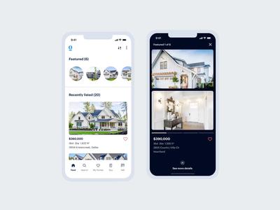 Real Estate Stories | Opendoor | Figma Prototype figma simple dark home product design product ui ux ios slides cards swipe mobile app house real estate opendoor stories