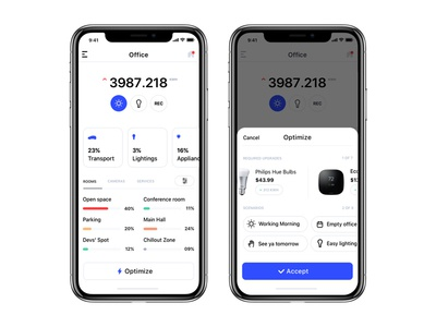 Energy Consumption Assistant iphone x ios mobile app dashboard consumption optimize energy smart home