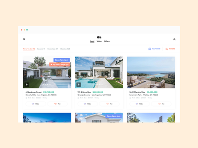 Open Listings Feed 🌊Card and Map views / Laptop openlistings color home real estate house visual design product white app ui ux product design