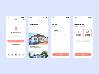 Schedule a tour flow / Open Listings iOS App ui product design white real estate house ios app mobile product design ux