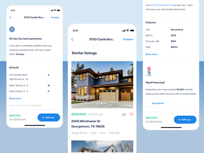 Property Detail Page @ Opendoor Mobile App footer price property listings list cards mobile app white illustration simple home real estate product house ios mobile app ui ux product design