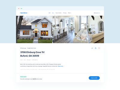Property Detail Page @ Opendoor Web App detail page webpage landing visual design opendoor design simple clean white house home product real estate ux web product design