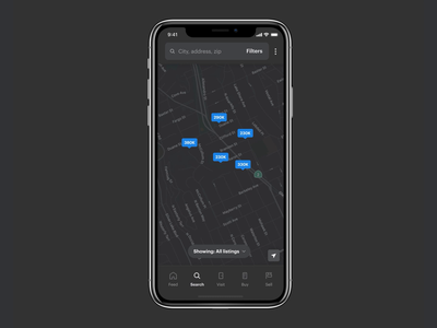 Search | Opendoor App visual design product home real estate app mobile app figma pins map tab bar search bar opendoor dark mode dark ui dark searching search
