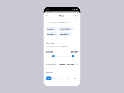 New Feed and Filters exploration | Opendoor app cards interaction motion design listing search bar modal button search filters opendoor home ios real estate product mobile app ux ui product design