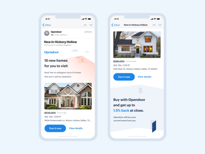 Feed Emails | Opendoor ios template type illustrations mobile clean house design marketing growth visual design opendoor home real estate inbox cards email