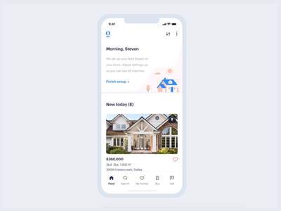 Feed Setup | Check Figma Prototype | Opendoor buttons motion interaction figma illustration opendoor drawer modal cards mobile app house product ios real estate mobile app ux ui product design