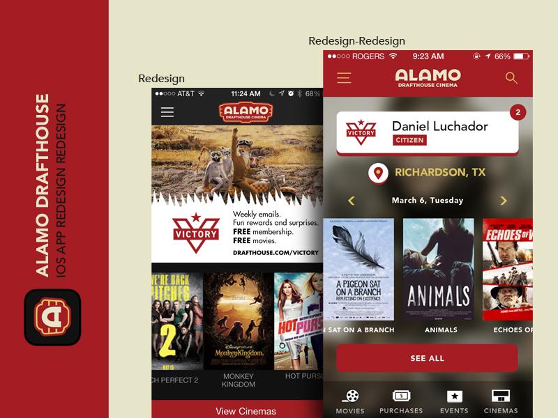 Alamo Drafthouse App Redesign-Redesign movies drafthouse alamo iphone ios ui ux app redesign