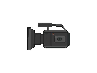 Film-tastic lens red rhode flat line icon video camera film