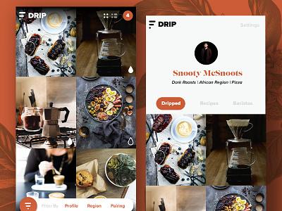 DRIP - Coffee App for Snobs minimal android ios grid ux ui app drip coffee
