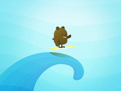 Surf Bear sea ocean surfboard cute funny character illustration water wave tidal surf bear