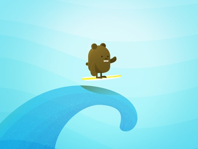 Surf Bear sea ocean surfboard cute funny character illustration water wave tidal surf bear